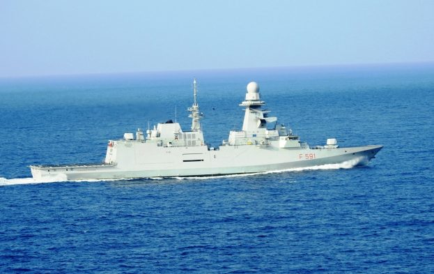 EU NAVFOR'S Italian ship Virginio Fasan chases and captures suspected pirates.