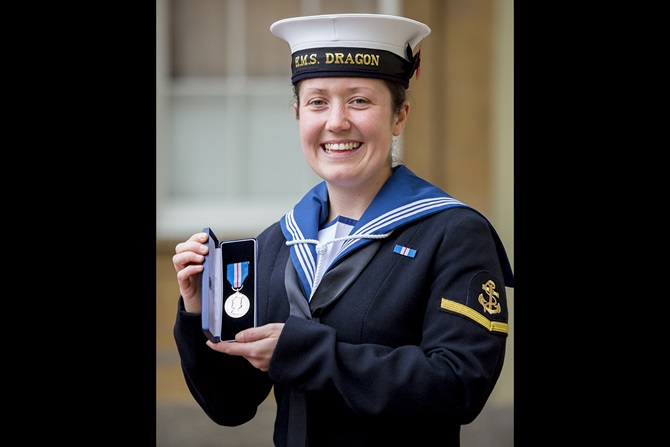 A Sailor From HMS Dragon has received the Queen's Gallantry Medal