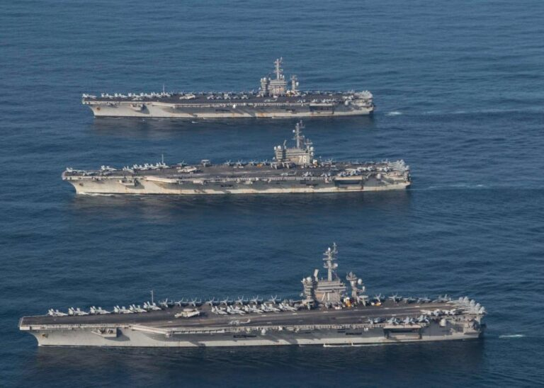 A Three-Carrier Naval Force is Finishing A Multi-Day Exercise in The Western Pacific