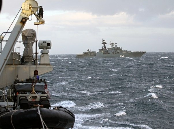 Royal Navy frigate HMS Somerset shadowed a Russian naval destroyer through the Moray Firth this weekend.