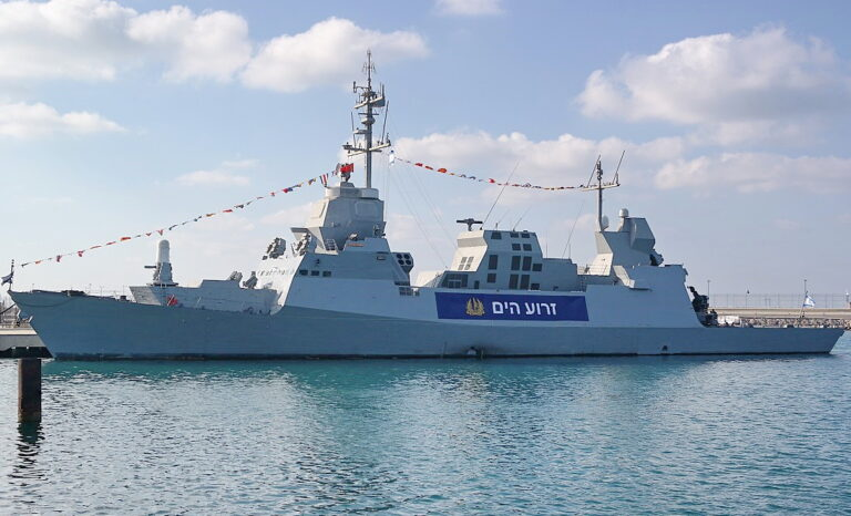 Israel mounted a battery of its Iron Dome anti-missile system on INS LAHAV