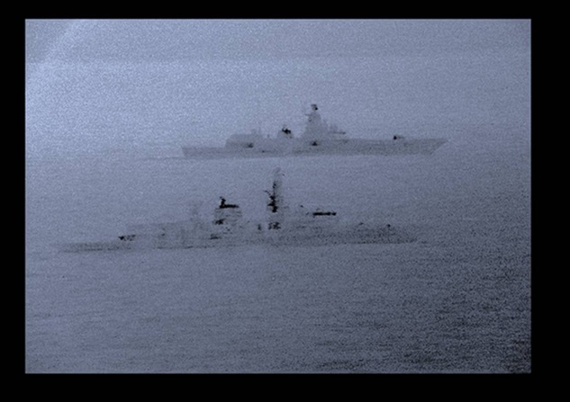 Royal Navy frigate HMS St Albans escorted a Russian warship.