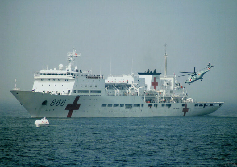 The Chinese naval hospital ship Peace Ark returns to home.