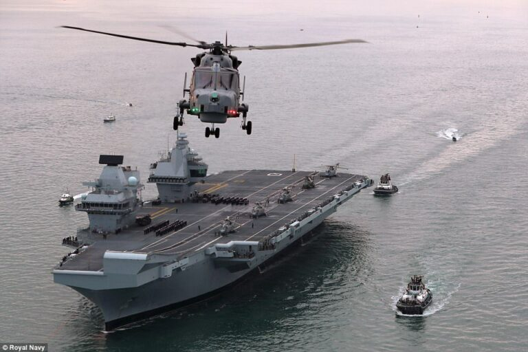 The Queen has officially welcomed the UK's new aircraft carrier, HMS Queen Elizabeth.