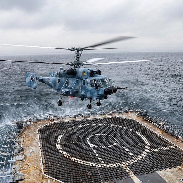 Russian Navy Ka-29 Helicopter Tested Aboard Project 11711 Landing Ship