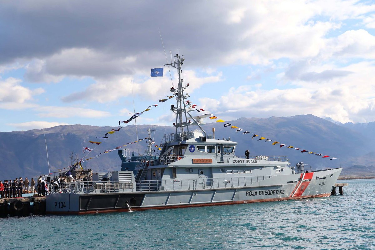 Albania's patrol vessel Butrint,  left Pashaliman harbor for Aegean Sea, to help in a NATO mission there.