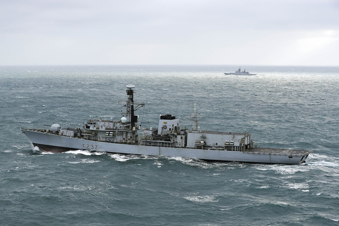 Royal Navy frigate escorts Russian warships through English Channel