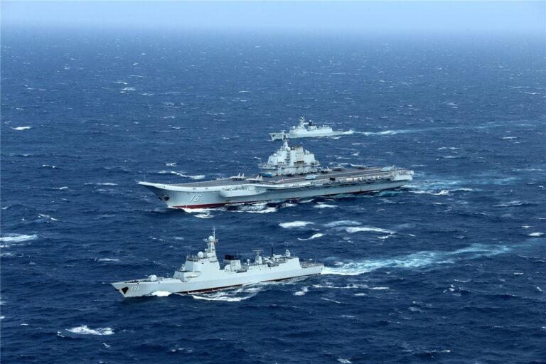 Chinese aircraft carrier Liaoning enroute to South China Sea.