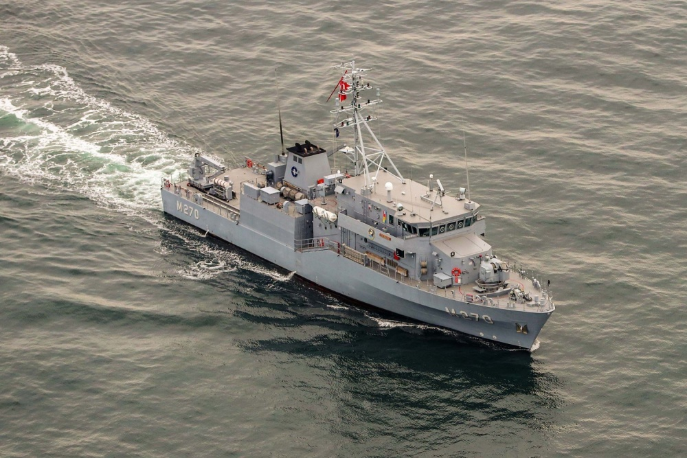 Turkish mine hunter TCG AKÇAY, discovered a sea mine  in Blacksea from a previous conflict.
