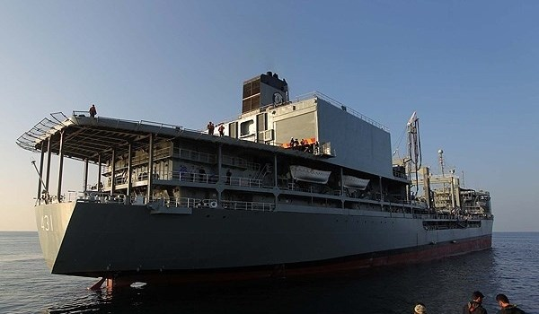 The Iranian Navy dispatched its logistic warship, Khark, to the international waters after four years of overhaul.