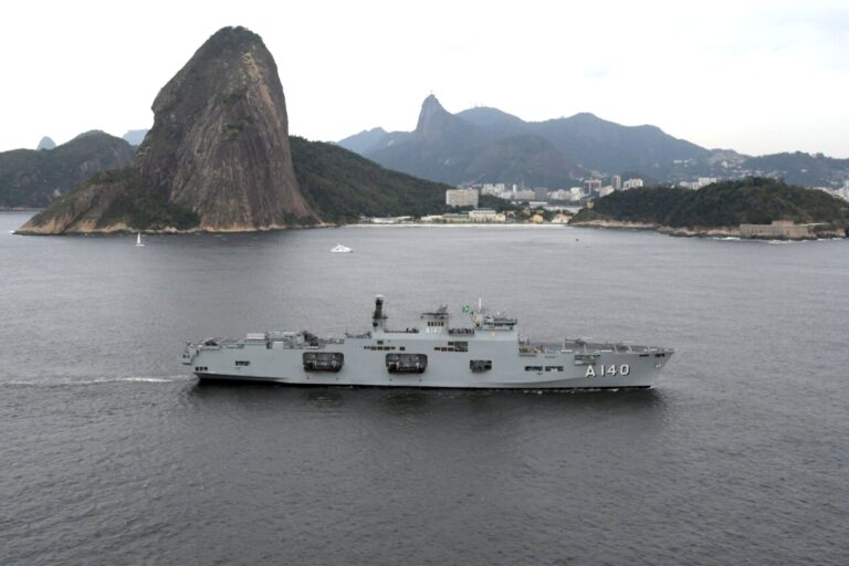Brazil's new helicopter carrier ATLANTICO A140 arrived at her new homeport