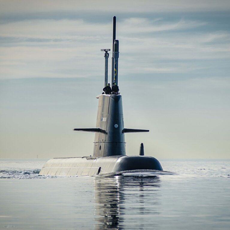 Swedish Navy submarine HSwMS Gotland starts sea trials after refit.