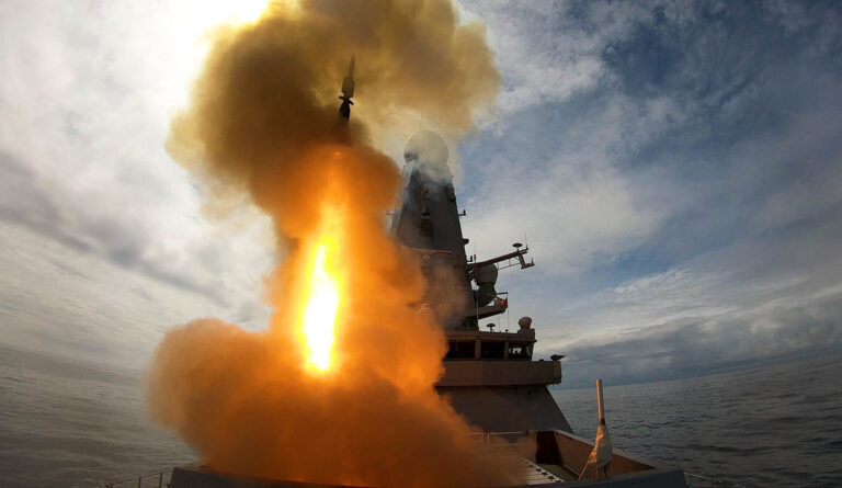 HMS DEFENDER shows her power with missile firing