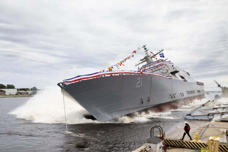 U.S. Navy's Littoral Combat Ship 21 (Minneapolis-Saint Paul) Christened And Launched