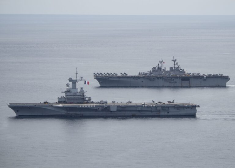 USS Boxer and FS Charles de Gaulle Sail in the Andaman Sea