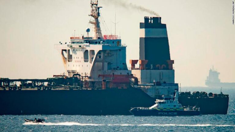 Tanker allegedly carrying crude oil from Iran to Syria stopped at Strait of Gibraltar