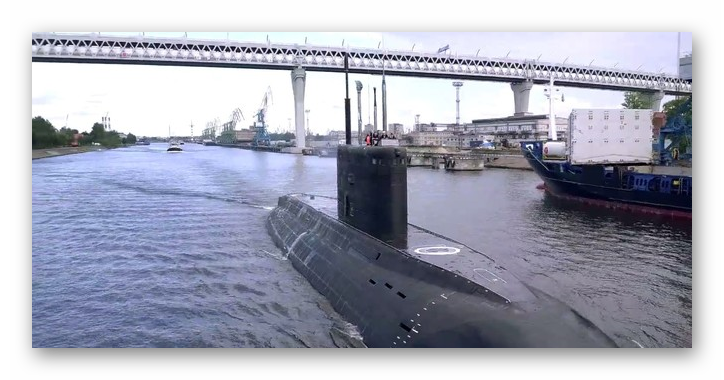 Russian Newest Diesel-Electric Submarine at Baltic Sea for Trials