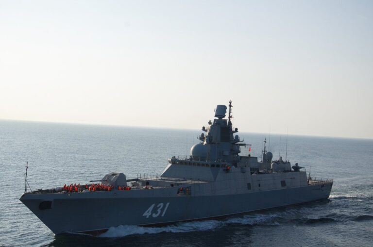 Russian Frigate Admiral Kasatonov holds missile-firing exercises in the White Sea