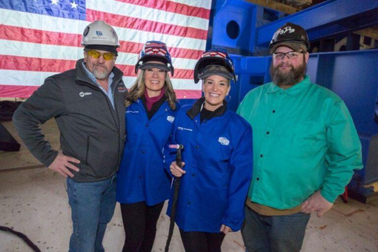 Keel laid for future USS John Basilone at Bath Iron Works Shipyard