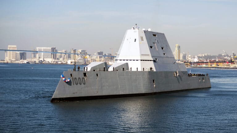 The U.S. Navy accepts delivery of USS Zumwalt