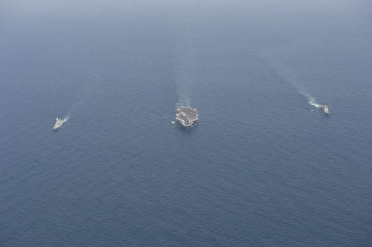 Eisenhower Strike Group of the U.S. Navy participates exercises with French Navy