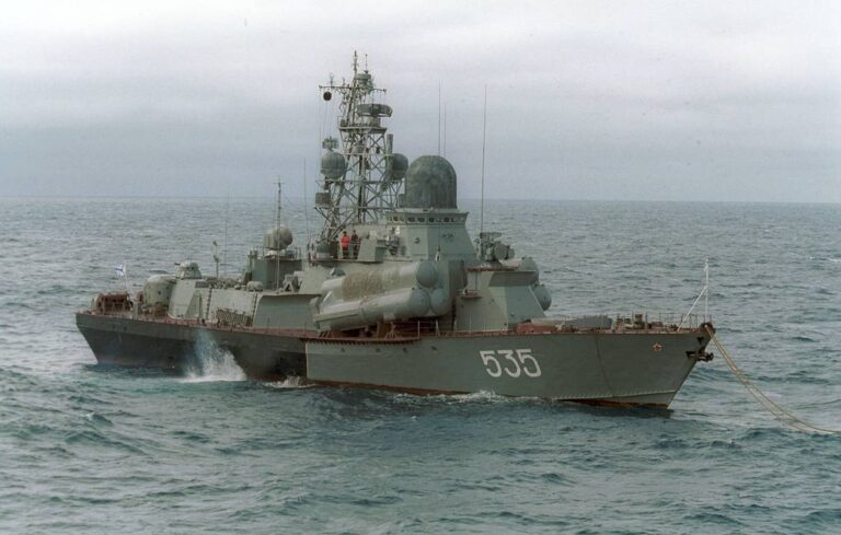 Russian missile boats conduct live firing exercises in the Barents Sea