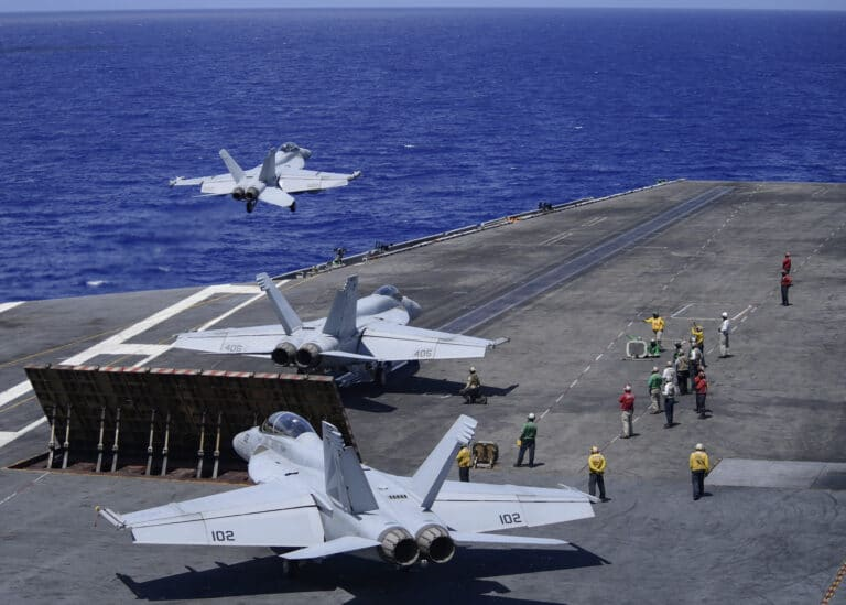 Two Carrier Strike Groups of the U.S. Navy Operate Together in 7th Fleet
