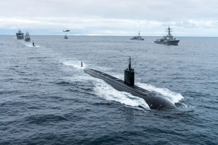 A photographic exercise during Dynamic Mongoose '17, USS Toledo leading the formation