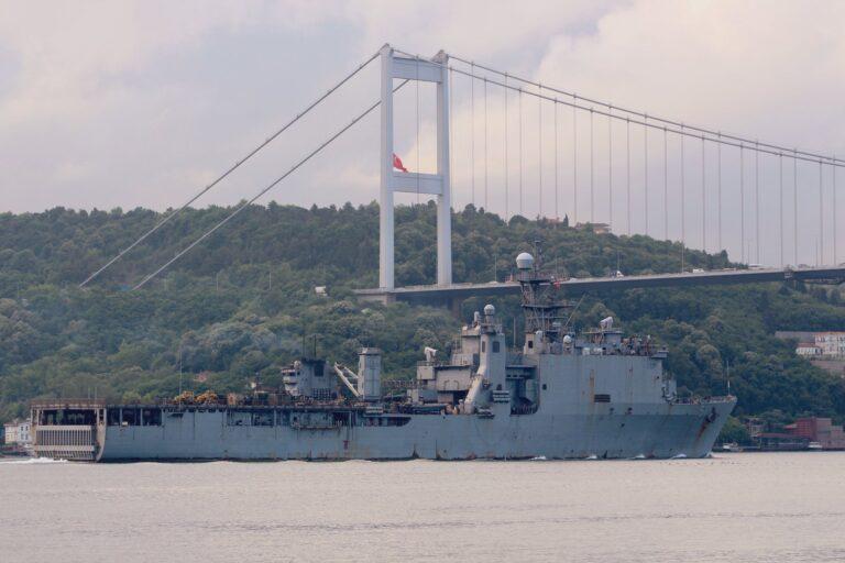 USS Oak Hill departs the Black Sea