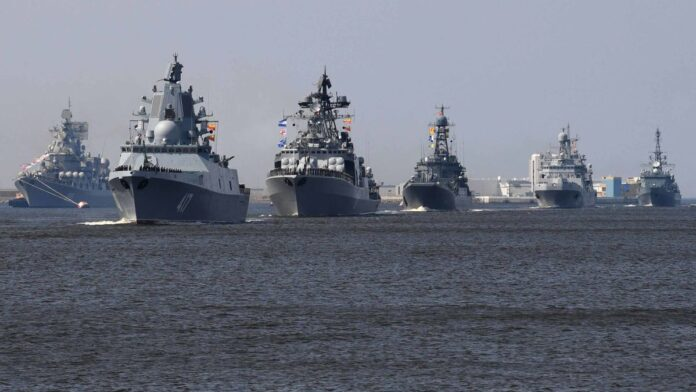 Naval parade in Russian Navy Day 2019