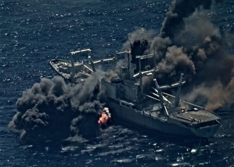 RIMPAC 2020 participants sink ex-USS Durham during the live firing exercise