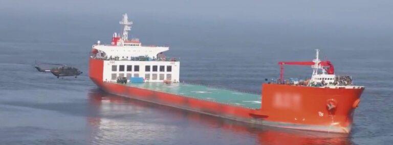 China uses civilian cargo ships as helo carrier