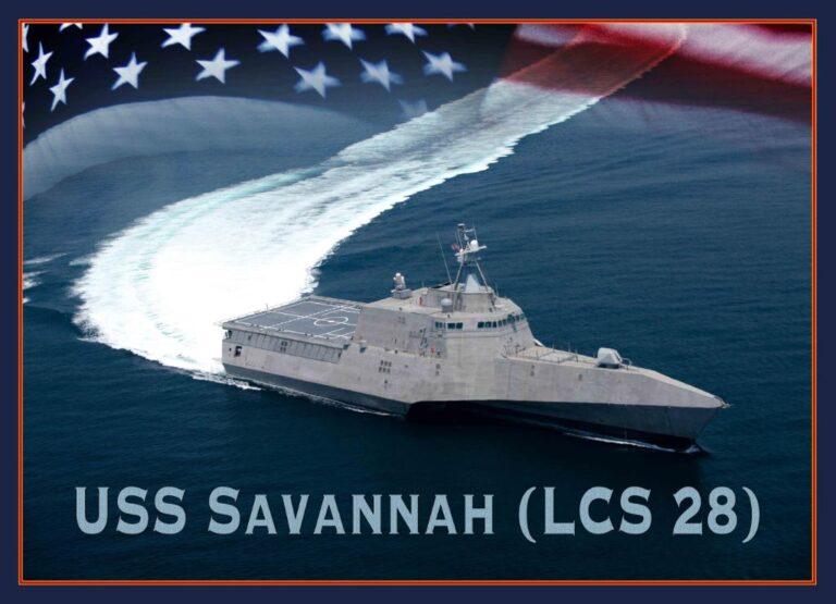 Future USS Savannah (LCS 28) christened at Austal USA