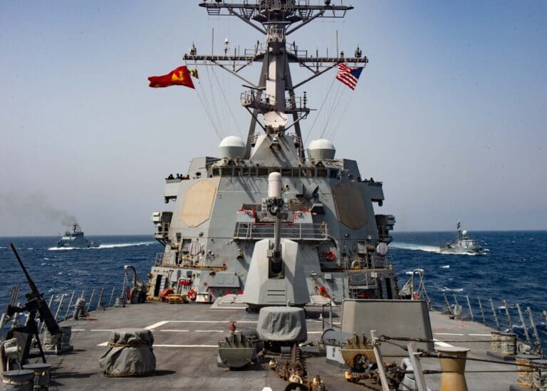 USS Winston S. Churchill conducts passing exercises with Tunisian Navy