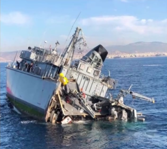 Greek MCM ship gets hard damage after colliding with a container ship