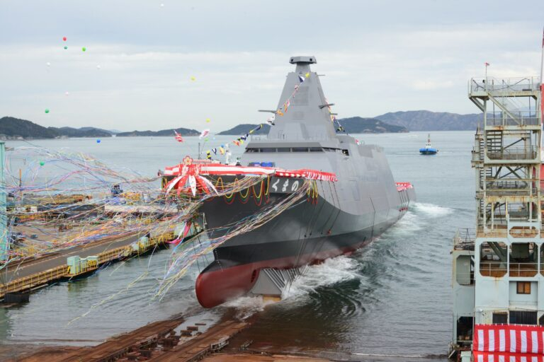 "JMSDF launches 30DX-class frigate ""Kumano"""