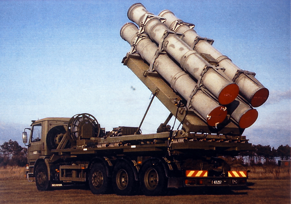 royal danish navy's mobile missile battery which was in service from early 90's capable of firing harpoon missiles for coastal defence.