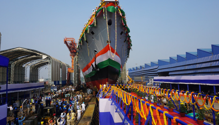"""India launches 2nd Project 17A frigate """"Himgiri"""""""