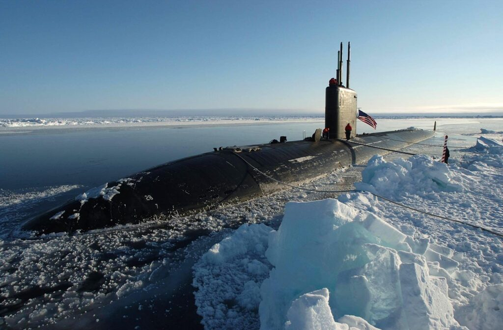 the los angeles-class attack submarine uss hampton (ssn 767) surfaced at the north pole. (us navy)