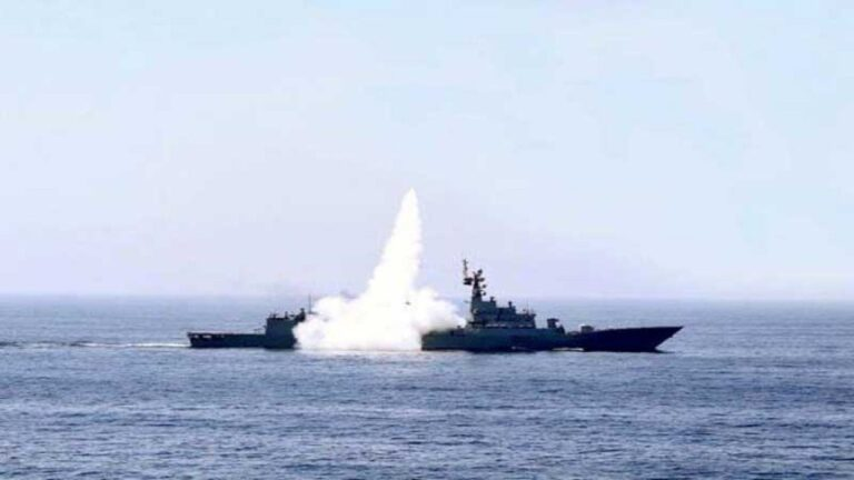 Pakistan Navy conducts live firing exercises in the North Arabian Sea