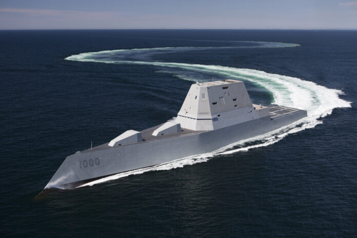 The future guided-missile destroyer USS Zumwalt (DDG 1000) transits the Atlantic Ocean during acceptance trials April 21, 2016