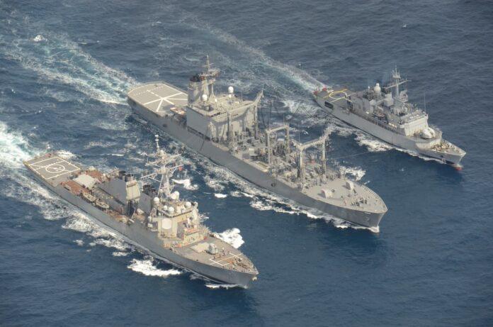 FNS Prairial (F731), USS Curtis Wilbur (DDG 54) and JS Hamana (AOE 424) Conducts RAS ,