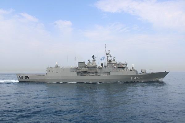 greek guided-missile frigate hs hydra (f452) transits the persian gulf (u.s. coast guard photo)