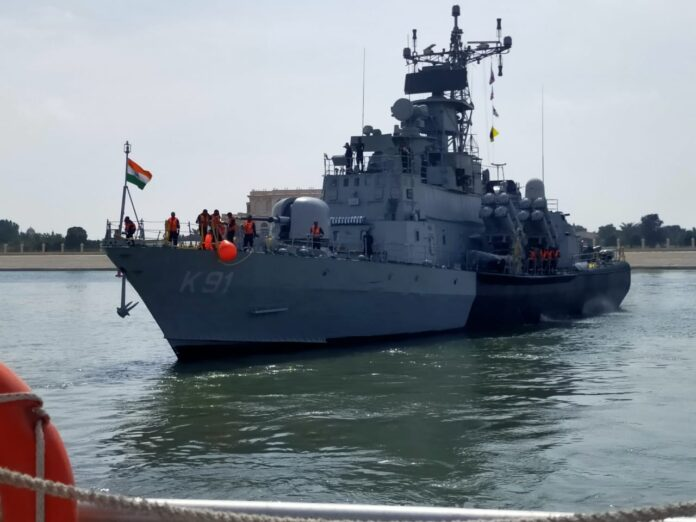 Indian Naval Ship Pralaya arrived at Abu Dhabi, UAE on Feb 19, 2021 to participate in the IDEX 21