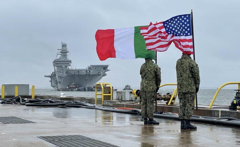 Italian Carrier Cavour arrives Norfolk for F35B certification