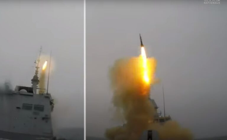 French Navy's FREMM Frigate Normandie fires Aster 30 missile