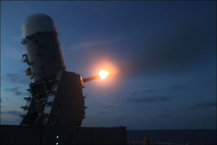 HMNZS TE MANA test-fires her Close in Weapons System (CIWS)