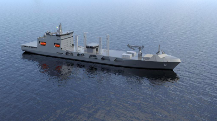 A rendering of the Indian Navy's future Fleet Support Ship (Image: TAIS)