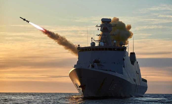 The frigate Absalon fires a missile at an air target during a naval exercise off Norway. Photo: Henning Jespersen-Skree / Air Force Photo Service.