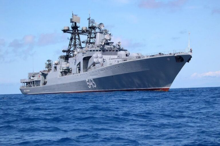 Russian frigate Marshal Shaposhnikov test-fires Kalibr cruise missile at the Sea of Japan